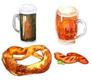 Bier, pretzel en worsten Stock Fotografie