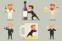 Bier-Rum-Whisky-Alkohol männliches Guy Character Different Positions und Aktions-Alkoholismus-Ikonen eingestelltes Retro- Karikat Lizenzfreie Stockfotografie