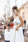 BIER SHEVA, ISRAEL - 1. MÄRZ 2018: Purim-Straßenmaskerade auf der Straße im Bier-Sheva Glücklicher purim Tag in Israel Lizenzfreie Stockfotografie