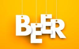 Bier Tekst het hangen op de koorden Stock Afbeelding