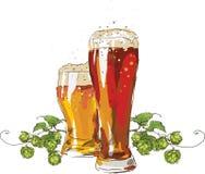 Bier und eine Niederlassung von Hopfen stockbild