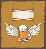 Bier und Flügel Vektor Abbildung