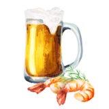 Bier und Garnelen watercolor stock abbildung