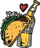 Bier und Taco Stockbild