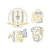 Bier, vat, elementen van de hop de monolijn voor menu, pakket, ontwerp Stock Afbeeldingen