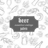 Bier-Weinlesemuster des Vektors Hand gezeichnetes nahtloses Lizenzfreie Stockbilder