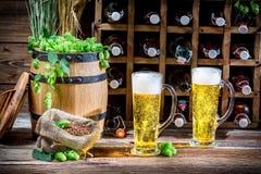 Bier zwei gerade von der Flasche alterte im Keller Stockfotografie