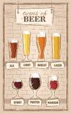 Bierarten Ein ¢¢VISUAL GUIDE''-Testblatt zu den Arten des Bieres Verschiedene Arten des Bieres in empfohlenen Gläsern Stockbilder