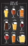 Bierarten Ein ¢¢VISUAL GUIDE''-Testblatt zu den Arten des Bieres Verschiedene Arten des Bieres in empfohlenen Gläsern Stockfotos