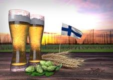 Bierconsumptie in Finland 3d geef terug Stock Foto