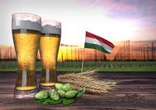 Bierconsumptie in Hongarije 3d geef terug Stock Foto's