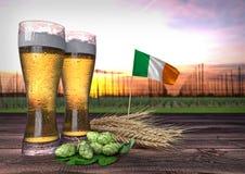 Bierconsumptie in Ierland 3d geef terug Royalty-vrije Stock Foto