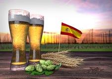 Bierconsumptie in Spanje 3d geef terug Royalty-vrije Stock Afbeelding