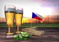 Bierconsumptie in Tsjechische republiek 3d geef terug Royalty-vrije Stock Afbeeldingen