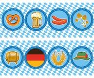 Bierelemente mit oktoberfest Symbol. Vektoraufkleber Stockfotos