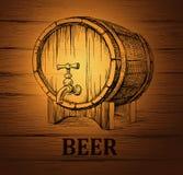 Bierfaß für Aufkleber, Paket hölzerne Weinlese Lizenzfreies Stockbild