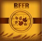 Bierfaß mit Hopfen lizenzfreie abbildung