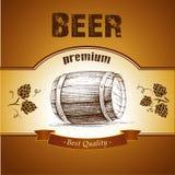 Bierfaß mit Hopfen stock abbildung