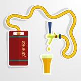 Bierfaß und -glas Es kann für Leistung der Planungsarbeit notwendig sein Stockfotografie