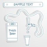 Bierfaß und -glas Vektorschmutzhintergrund für Stockbild