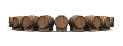Bierfaesser im Halbkreis 06. A circle of beer barrels on white background stock illustration