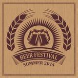 Bierfestival-Ikonensymbol der Weinlese Retro- - vector Design Stockfotografie