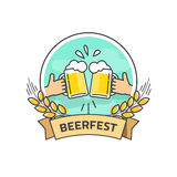 Bierfestival-Vektoraufkleber lokalisiert, beerfest Logo mit Band Stockbild