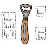 Bierflascheöffner Gekritzel-Art-Skizze Hand gezeichnete vektorabbildung Lizenzfreie Stockfotos