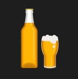 Bierflasche- und Glaskarikaturvektor Lizenzfreies Stockfoto