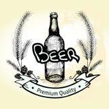Bierflascheaufkleber, -malz und -ausweis des Schmutzes Hand gezeichneter mit Texten ' Stockfotografie