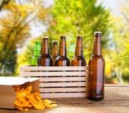 Bierflaschen und Kartoffelchips auf Holztisch mit unscharfem Park auf Hintergrund, farbiger Flasche, Nahrung und Getränkkonzept,  lizenzfreies stockbild
