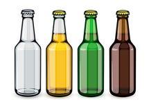 Bierflaschen voll eingestellt von leerem und vektor abbildung