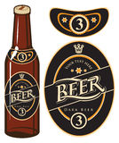 Bierfles met een etiket stock illustratie