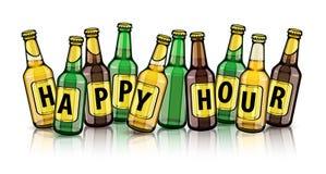 Bierflessen met gelukkige uurteksten op etiketten vector illustratie