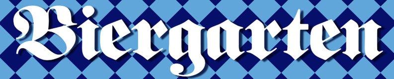 Biergarten Banner. Biergarten Beer Garden Banner with Bavarian flag in background old style German lettering vector illustration