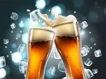 Biergläser mit Blasen und einem schäumenden Spritzen Sehr realistischer Kranke Stockbilder