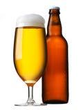 Bierglas en fles royalty-vrije stock afbeelding