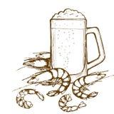Bierglas en garnalen Royalty-vrije Stock Afbeeldingen