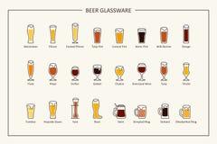 Bierglaswarenführer, farbige Ikonen Horizontale Orientierung Vektor Stockbilder