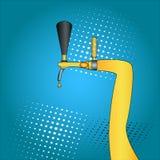 Bierhahn Schließen Sie oben von der Presse Bierhahn-Pop-Arten-Hand gezeichnet Comic-Buch-Artnachahmung Weinleseretrostil begriffl Lizenzfreies Stockfoto