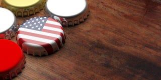 Bierkappe mit USA-Flagge auf hölzernem Hintergrund, Kopienraum Abbildung 3D Lizenzfreies Stockbild