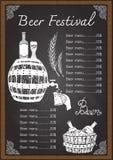 Biermenügetränkekarte auf Tafelschablone Lizenzfreie Stockfotografie