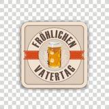 Bieronderlegger voor glazen Froehlichen Transparante Vatertag vector illustratie