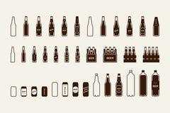 Bierpaketikone eingestellt: Flasche, Dose, Kasten Stockbild