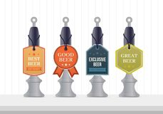 Bierpumpen-Schablonendesign Bierpumpensammlung Bierpumpenaufkleber Lizenzfreie Stockfotografie