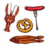 Biersnack-food-Skizze der Wurst, Brezel, Fisch stock abbildung