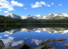 Bierstadt Lake with the Continental Divide reflection in Rocky M. Hallett Peak and the Continental Divide reflect in the waters of Bierstadt Lake in Rocky Royalty Free Stock Photos