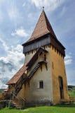 Biertan中世纪教会塔  免版税图库摄影