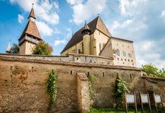 Biertan在罗马尼亚加强了教会城堡 库存图片