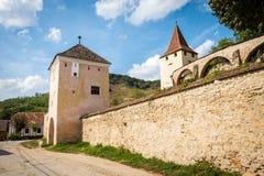 Biertan在罗马尼亚加强了教会城堡 图库摄影